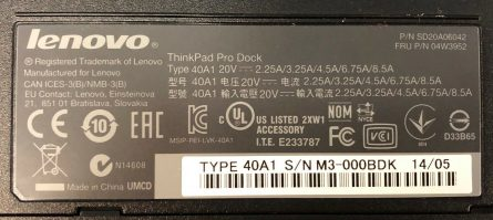 Lenovo ThinkPad Pro Dock Type 40A1 USB 3.0 Laptop Port Replicator1